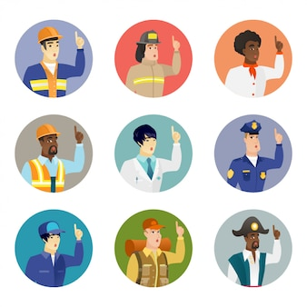 Conjunto de caracteres de diferentes profissões.