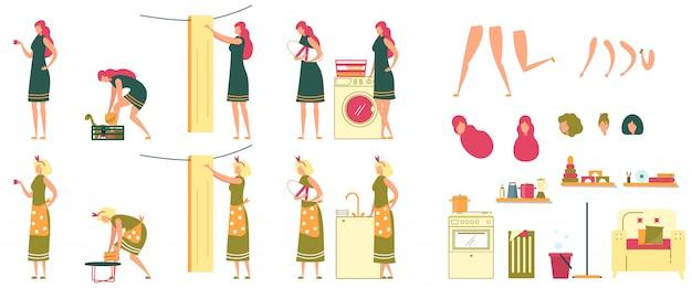 Conjunto de caracteres de dona de casa de mulheres jovens e adultas