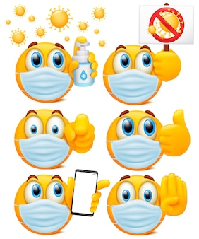 Conjunto de caracteres de emoji redondos amarelos com máscaras médicas. coleção de estilo dos desenhos animados 3d.