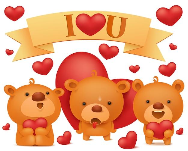 Conjunto de caracteres de emoji ursinho com corações vermelhos. coleção de vetores de dia dos namorados