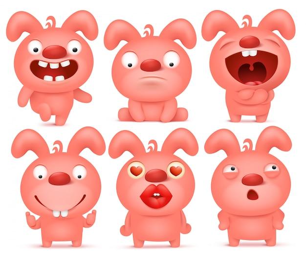 Conjunto de caracteres de emoticon de coelho rosa dos desenhos animados.