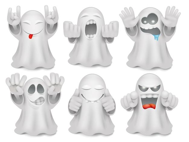 Conjunto de caracteres de emoticon fantasma bonito dos desenhos animados.