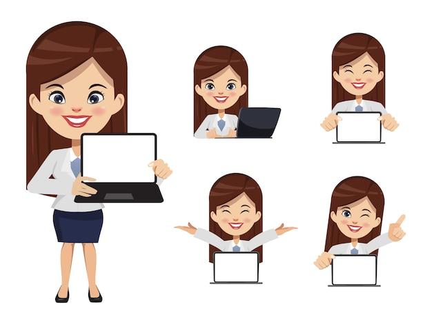 Conjunto de caracteres de empresária com computador portátil notebook.