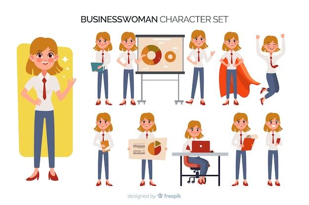 Conjunto de caracteres de empresária de nice
