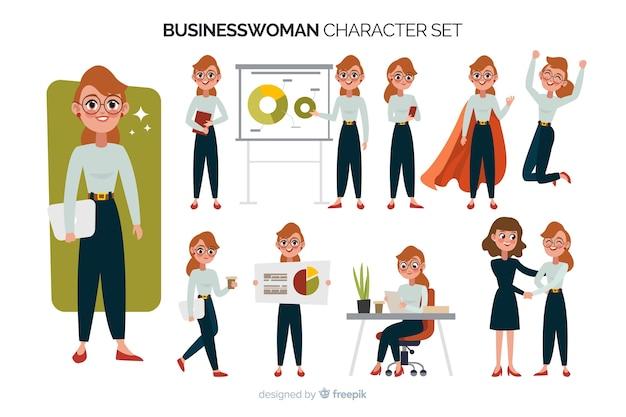Conjunto de caracteres de empresária