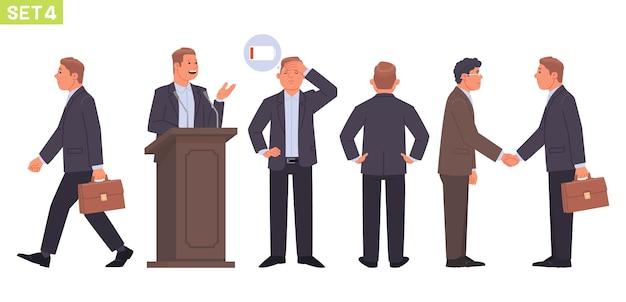 Conjunto de caracteres de empresário gerente de homem em diferentes poses e situações a pessoa vai para o trabalho