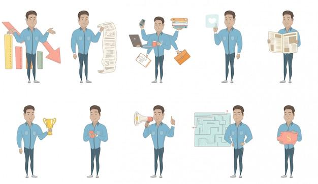 Conjunto de caracteres de empresário latino-americano