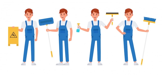 Conjunto de caracteres de equipe de limpeza