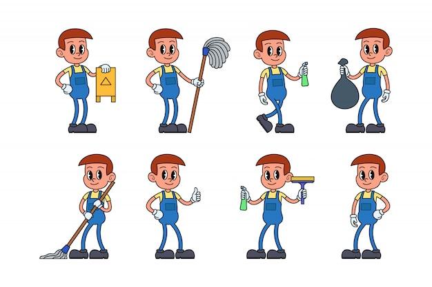Conjunto de caracteres de equipe de serviço de limpeza
