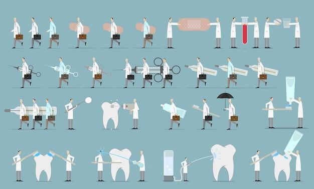 Conjunto de caracteres de equipe médica