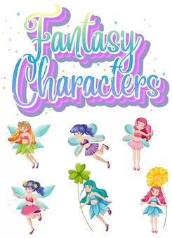 Conjunto de caracteres de fada fantasia