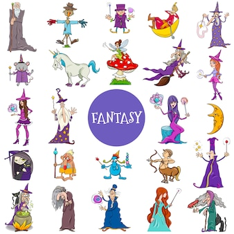Conjunto de caracteres de fantasia em quadrinhos grande