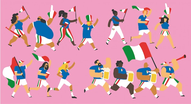 Conjunto de caracteres de fãs de futebol da itália