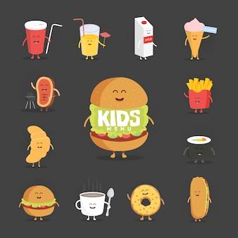 Conjunto de caracteres de fast-food bonito dos desenhos animados