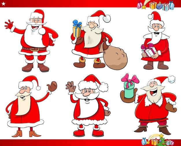 Conjunto de caracteres de férias de natal papai noel