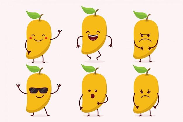 Conjunto de caracteres de fruta manga