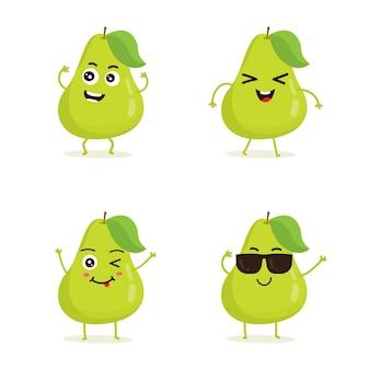 Conjunto de caracteres de fruta pêra em emoção de ação diferente