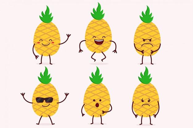 Conjunto de caracteres de frutas de abacaxi