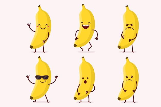 Conjunto de caracteres de frutas de banana