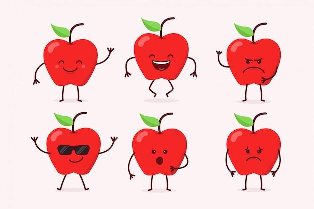 Conjunto de caracteres de frutas de maçã