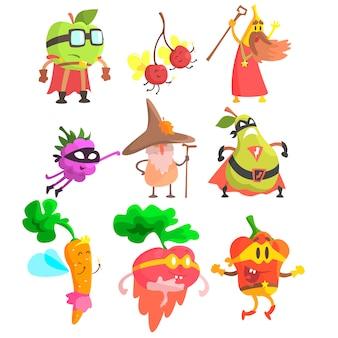 Conjunto de caracteres de frutas e vegetais bobo fantasia