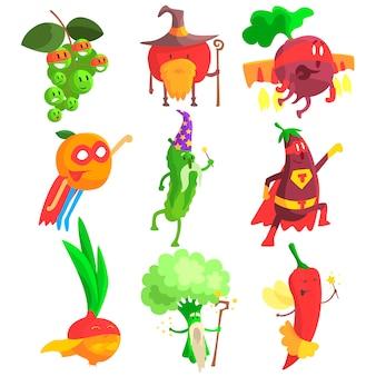 Conjunto de caracteres de frutas e vegetais fantásticos bobo