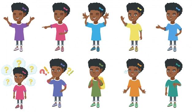 Conjunto de caracteres de garota africana