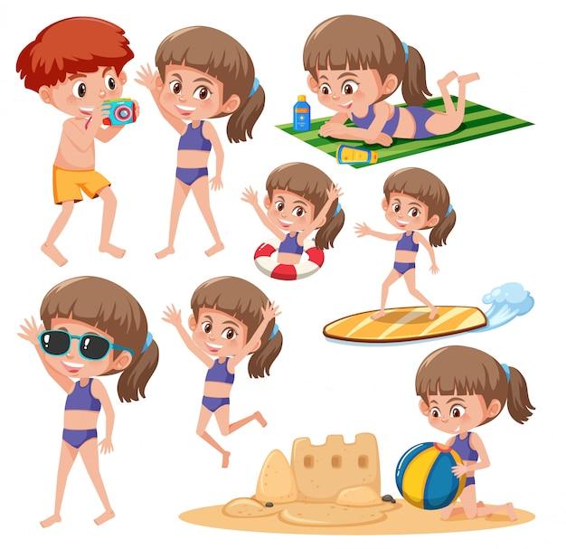 Conjunto de caracteres de garota de praia