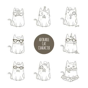 Conjunto de caracteres de gato adorável