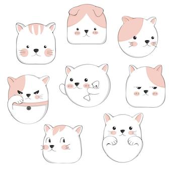 Conjunto de caracteres de gato bonito dos desenhos animados