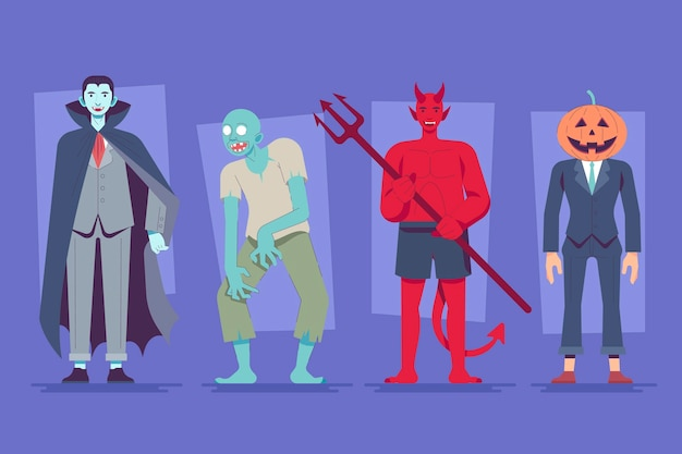 Conjunto de caracteres de halloween de design plano