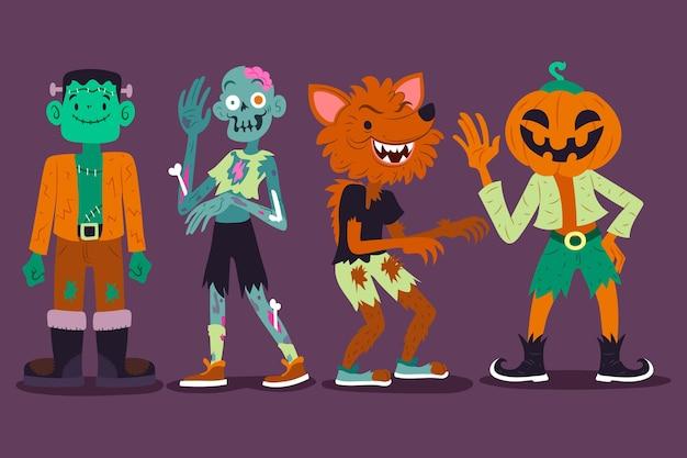 Conjunto de caracteres de halloween desenhado