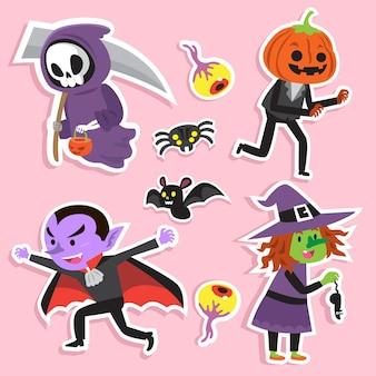 Conjunto de caracteres de halloween mão desenhada
