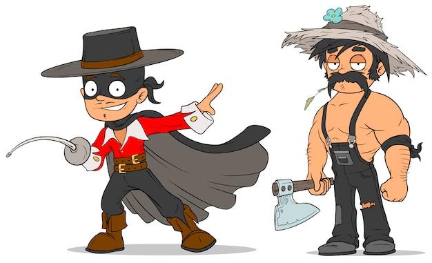 Conjunto de caracteres de herói e agricultor mascarado dos desenhos animados