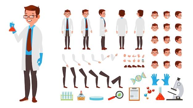 Conjunto de caracteres de homem cientista
