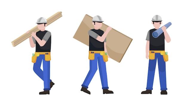 Conjunto de caracteres de homem de construção