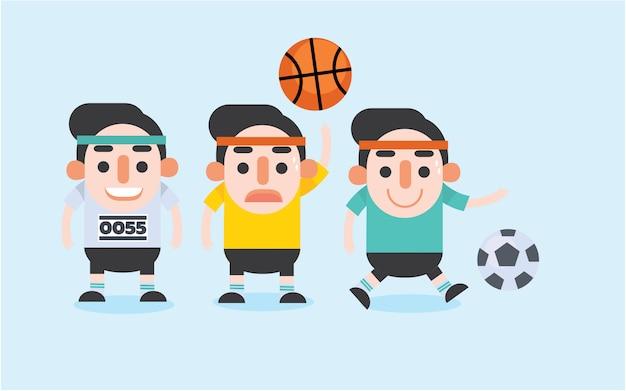 Conjunto de caracteres de homem de esportes