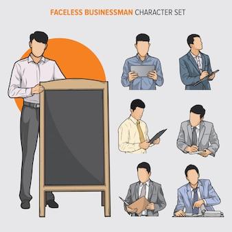 Conjunto de caracteres de homem de negócios sem rosto
