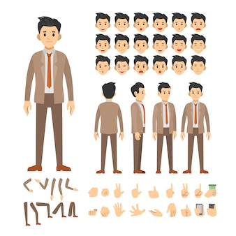 Conjunto de caracteres de homem de negócios