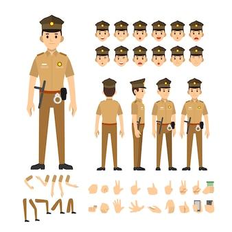 Conjunto de caracteres de homem de polícia india