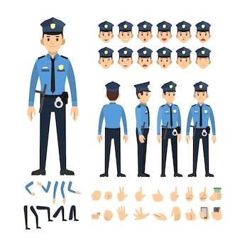 Conjunto de caracteres de homem de polícia