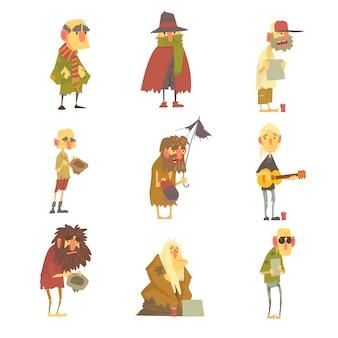 Conjunto de caracteres de homens sem-teto.
