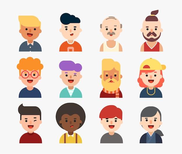 Conjunto de caracteres de homens.