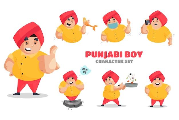 Conjunto de caracteres de ilustração de menino em punjabi