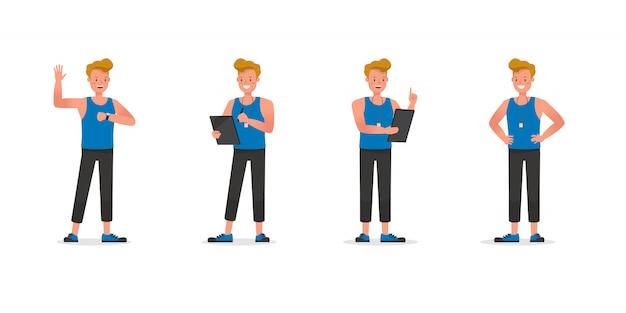 Conjunto de caracteres de instrutor de fitness. homem vestido com roupas esportivas.
