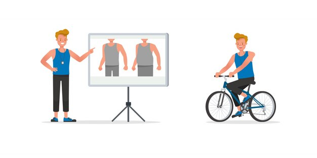 Conjunto de caracteres de instrutor de fitness. homem vestido com roupas esportivas