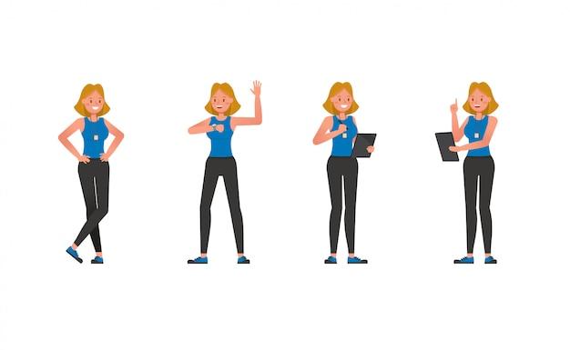 Conjunto de caracteres de instrutor de fitness. mulher vestida com roupas esportivas.