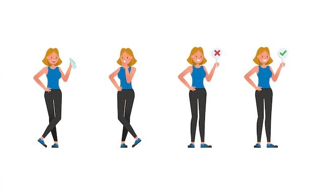 Conjunto de caracteres de instrutor de fitness. mulher vestida com roupas esportivas