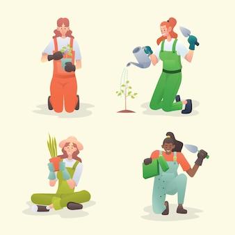 Conjunto de caracteres de jardinagem mulheres