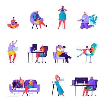 Conjunto de caracteres de jogadores de pessoas planas